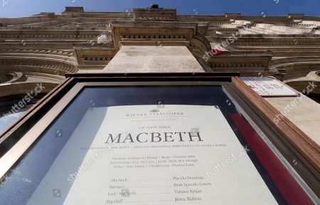 Outside view of a flyer in a showcase at the Austrian State Opera in Vienna, Austria, where Placido Domingo will perform 'Macbeth' an opera by Italian composer Giuseppe Verdi on Friday