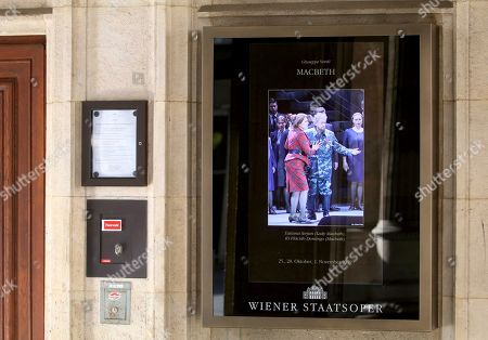 A flyer in a showcase is pictured at the Austrian State Opera in Vienna, Austria, where Placido Domingo will perform 'Macbeth' an opera by Italian composer Giuseppe Verdi on Friday