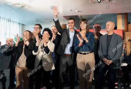 Spanish Prime Minister and Socialist Party (PSOE) candidate for the re-election Pedro Sanchez (C) reacts next to PSOE Basque leaders Idoia Mendia (2-R) and Odon Elorza (R) and governement spokeswoman Isabel Celaa (2-L) during an electoral campaign in Vitoria, Basque Country, Spain, 01 November 2019. Spain will held general elections upcoming 10th of November.