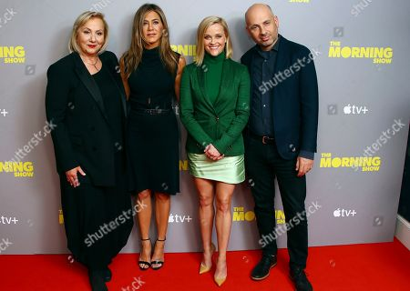 Jennifer Aniston, Reese Witherspoon, Mimi Leder, Michael Ellenberg. From left, Director Mimi Leder, actresses and producers Jennifer Aniston, Reese Witherspoon and Michael Ellenberg, upon arrival at the photo call of 'The Morning Show' at a central London hotel