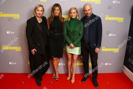 Jennifer Aniston, Reese Witherspoon, Mimi Leder, Michael Ellenberg. Director Mimi Leder, from left to right, poses for photographers, with actresses and producers Jennifer Aniston, Reese Witherspoon and Michael Ellenberg, upon arrival at the photo call of 'The Morning Show' at a central London hotel