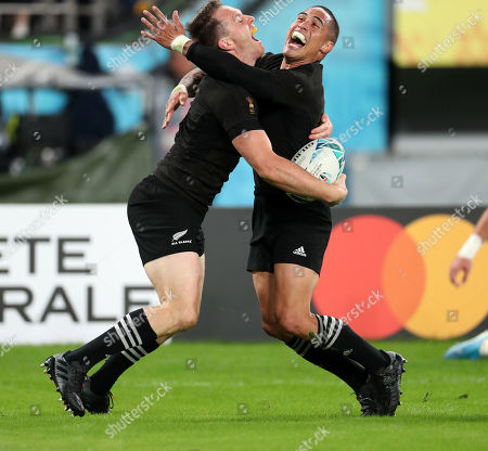 Ben Smith - New Zealand winger celebrates with Aaron Smith after sliding over the line for a first half try.