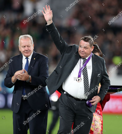 Steve Hansen - New Zealand head coach waves to the fans after receiving his Bronze medal from Sir Bill Beaumont - World Rugby Chairman in his last game in charge of the All Blacks.
