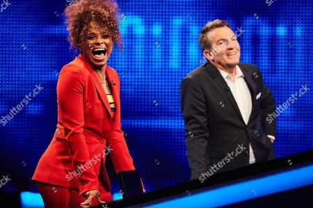 Fleur East and host Bradley Walsh facing The Chaser
