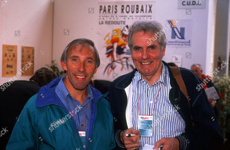 Paris Roubaix 1995 British TV Commentators Phil Liggett (Left) and David Duffield (Right) before start of the race.