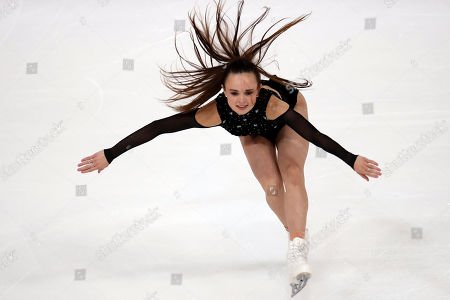 US' Maria Bell competes in the Ladies Short Program during the ISU figure skating France's Trophy, in Grenoble, French Alps, France