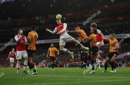 Calum Chambers (A) heads towards goal at the Arsenal v Wolverhampton Wanderers English Premier League game at The Emirates Stadium, UK on November 2, 2019. **Editorial use only, license required for commercial use. No use in betting, games or a single club/league/player publications**