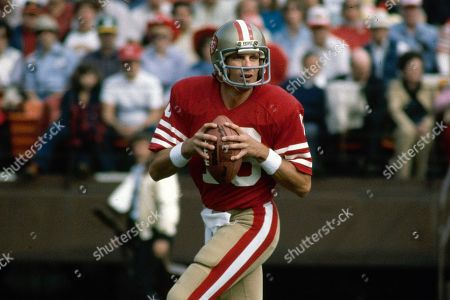 Showing San Francisco 49ers NFL football quarterback Joe Montana. The 49ers ruled most of the 1980s by winning Super Bowls after the 1981, '84, '88 and '89 seasons