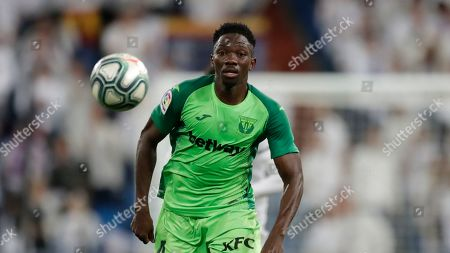 Stock Picture of Leganes' Kenneth Omeruo plays during a Spanish La Liga soccer match between Real Madrid and Leganes at the Santiago Bernabeu stadium in Madrid, Spain