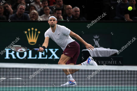 Grigor Dimitrov of Bulgaria in action during his quarterfinal match against Christian Garin of Chile at the Rolex Paris Masters tennis tournament in Paris, France, 01 November 2019.