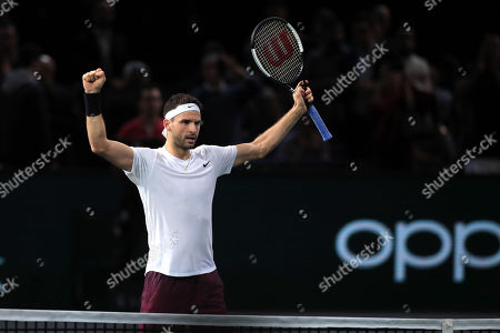 Grigor Dimitrov of Bulgaria celebrates after winning his quarterfinal match against Christian Garin of Chile at the Rolex Paris Masters tennis tournament in Paris, France, 01 November 2019.