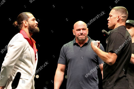 Jorge Masvidal, Nate Diaz. Jorge Masvidal, left, squares off with Nate Diaz as UFC President Dana White looks on at a news conference for the UFC 244 mixed martial arts event in New York. Diaz or Masvidal will step out of the Garden on Saturday, Nov. 2, the undisputed champ of UFC 244's crudest named title _ the Baddest Mother (censored!) in the game