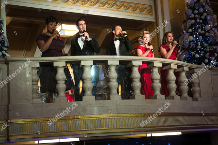Stock Photo of Brenda Edwards (Martha Watson), Dan Burton (Phil Davis), Danny Mac (Bob Wallace), Clare Halse (Judy Haynes) and Danielle Hope (Betty Haynes)