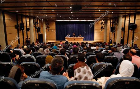 Germany filmmaker Florian Henckel von Donnersmarck (rear, C) attends a press conference at the Farhang Cinema in Shiraz, southern Iran, 01 November 2019. Donnersmarck is in Shiraz for the German Culture Week.