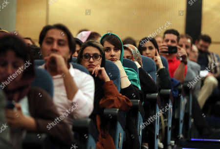 Attendees at a press conference of Germany filmmaker Florian Henckel von Donnersmarck (unseen) at the Farhang Cinema in Shiraz, southern Iran, 01 November 2019. Donnersmarck is in Shiraz for the German Culture Week.