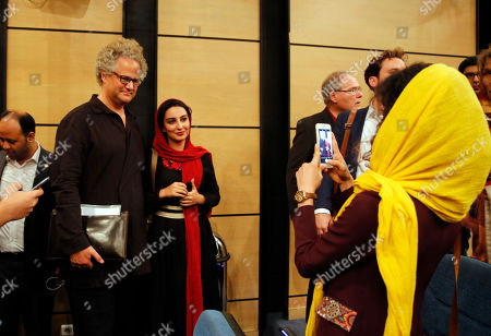 Germany filmmaker Florian Henckel von Donnersmarck (2-L) poses for pictures after a press conference at the Farhang Cinema in Shiraz, southern Iran, 01 November 2019. Donnersmarck is in Shiraz for the German Culture Week.
