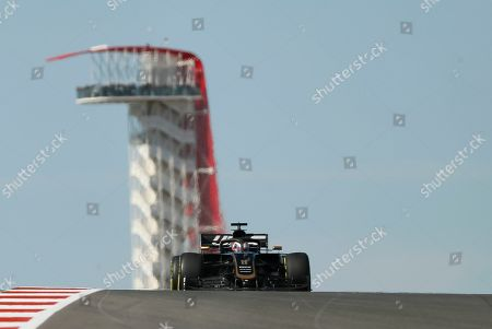 Haas driver Romain Grosjean, of France, steers his car during the first practice session for the Formula One U.S. Grand Prix auto race at the Circuit of the Americas, in Austin, Texas