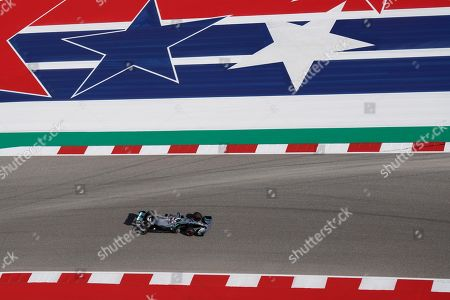 Mercedes' Lewis Hamilton, of Britain, driveds during the second practice session for the Formula One U.S. Grand Prix auto race at Circuit of the Americas, in Austin, Texas