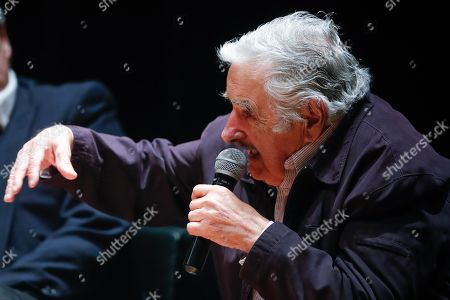 Former Uruguayan President Jose Mujica speaks during a conference on the role of politics in Latin America along with Argentine President-elect Alberto Fernandez (not pictured), at the Tres de Febrero National University, in Caseros, Argentina, 01 November 2019.