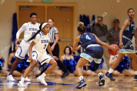 Stock Image of Seton Hall's Lauren Park-Lane (left) and Jefferson's Alynna Williams (right) during an NCAA exhibition basketball game, in South Orange, N.J. Seton Hall won 98-54