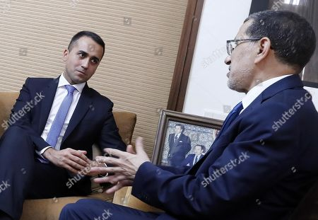 Italian Minister of Foreign Affairs Luigi Di Maio (L) and Moroccan Prime Minister Saadeddine El Othmani (R) during their meeting at the Government Palace in Rabat, Morocco, 01 November 2019.
