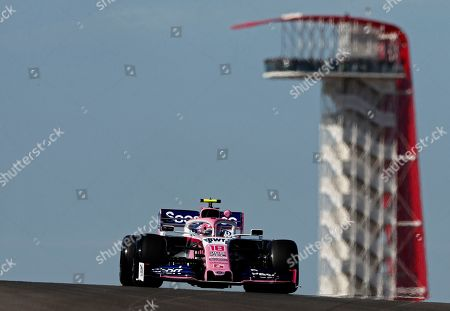Canadian Formula One driver Lance Stroll of Racing Point comes over the hill during the first practice session at the Circuit of the Americas, in Austin, Texas, USA, 01 November 2019. The United States Formula One Grand Prix takes place on 03 November 2019.