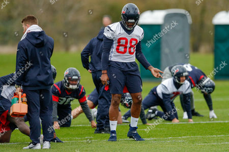 Air guitar moves Jordan Akins (TE) (88) of the Houston Texans , during the Media day / training session / press conference for Houston Texans at London Irish Training Ground, Hazelwood Centre
