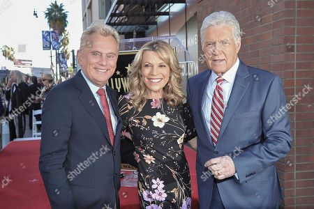 Pat Sajak, Vanna White, Alex Trebek. Pat Sajak, from left, Vanna White and Alex Trebek attend a ceremony honoring Harry Friedman with a star on the Hollywood Walk of Fame, in Los Angeles