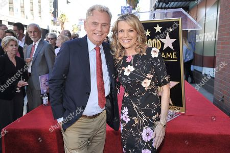 "Pat Sajak, Vanna White. Pat Sajak, left, and Vanna White, from ""Wheel of Fortune,"" attend a ceremony honoring Harry Friedman with a star on the Hollywood Walk of Fame, in Los Angeles"