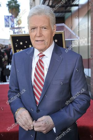 """Alex Trebek, host of """"Jeopardy!"""" attends a ceremony honoring the show's executive producer Harry Friedman with a star on the Hollywood Walk of Fame, in Los Angeles"""
