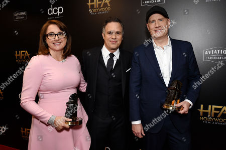 Victoria Alonso, Mark Ruffalo and Kevin Feige