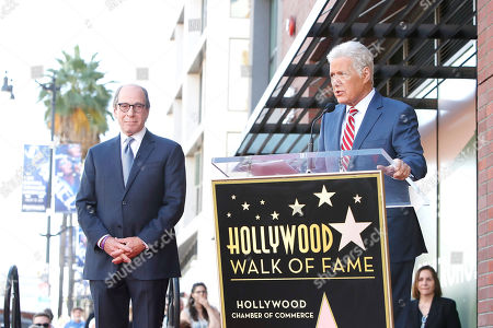 US game show host Alex Trebek (R) speaks during a ceremony honoring US game show producer Harry Friedman (L) with a star on the Hollywood Walk of Fame, in Los Angeles, California, USA, 01 November 2019. Friedman received the 2680th star on the Hollywood Walk of Fame, dedicated in the category of Television.