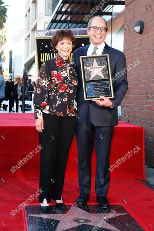 US game show producer Harry Friedman (R) and his wife Judy Friedman during a ceremony honoring him with a star on the Hollywood Walk of Fame, in Los Angeles, California, USA, 01 November 2019. Friedman received the 2680th star on the Hollywood Walk of Fame, dedicated in the category of Television.