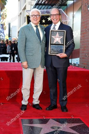 US game show producer Harry Friedman (R) and US television producer Vin Di Bona (L) during a ceremony honoring Friedman with a star on the Hollywood Walk of Fame, in Los Angeles, California, USA, 01 November 2019. Friedman received the 2680th star on the Hollywood Walk of Fame, dedicated in the category of Television.