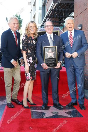 Stock Photo of US game show hosts Pat Sajak, Vanna White, Harry Friedman and Alex Trebek attend a ceremony honoring US game show producer Harry Friedman with a star on the Hollywood Walk of Fame, in Los Angeles, California, USA, 01 November 2019. Friedman received the 2680th star on the Hollywood Walk of Fame, dedicated in the category of Television.