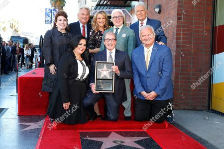 US game show producer Harry Friedman (C) poses during a ceremony honoring him with a star on the Hollywood Walk of Fame, in Los Angeles, California, USA, 01 November 2019. Friedman received the 2680th star on the Hollywood Walk of Fame, dedicated in the category of Television.