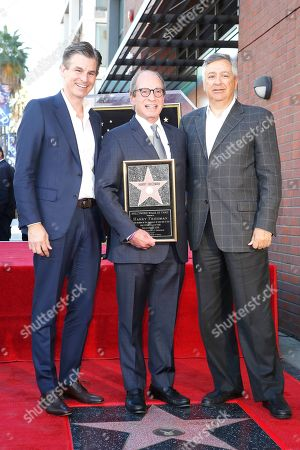 Mike Richards, US game show producer Harry Friedman and Chairman and CEO of Sony Pictures Tony Vinciquerra during a ceremony honoring Friedman with a star on the Hollywood Walk of Fame, in Los Angeles, California, USA, 01 November 2019. Friedman received the 2680th star on the Hollywood Walk of Fame, dedicated in the category of Television.