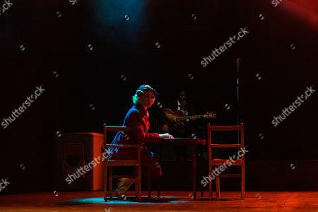 Victoria Hamilton-Barritt (The Woman) and Femi Temowo (musician)