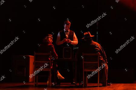 Victoria Hamilton-Barritt (The Woman), Jamie Hogarth (Second Waiter) and Trevor Cooper (Charley)