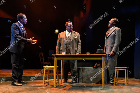 Sope Dirisu (Biff), Wendell Pierce (Willy Loman) and Natey Jones (Happy)
