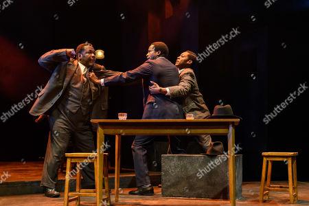 Wendell Pierce (Willy Loman), Sope Dirisu (Biff) and Natey Jones (Happy)