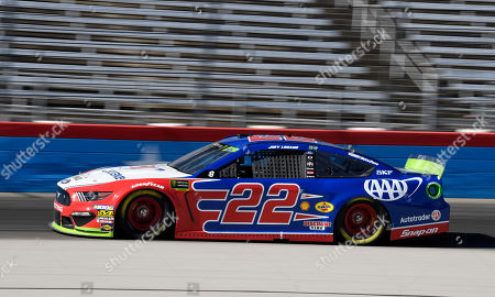 Joey Logano heads down the front stretch during practice for the NASCAR Cup Series auto race at Texas Motor Speedway in Forth Worth, Texas