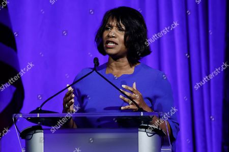 Amanda Green-Hawkins speaks during a Pennsylvania Democratic Party fundraiser in Philadelphia