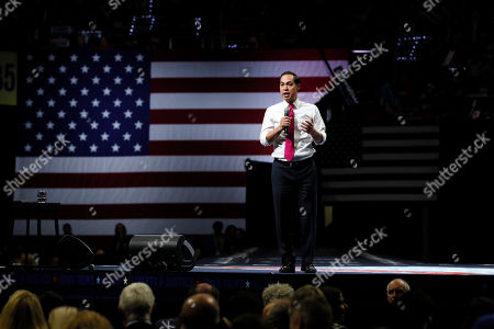Democratic presidential candidate former U.S. Secretary of Housing and Urban Development Julian Castro speaks during the Iowa Democratic Party's Liberty and Justice Celebration, in Des Moines, Iowa