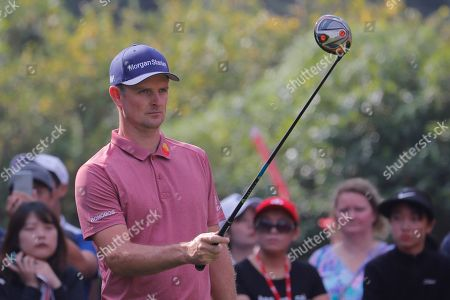 Justin Rose of England in action during the third round of the HSBC World Golf Championships 2019 at the Sheshan International Golf Club in Shanghai, China, 02 November 2019.