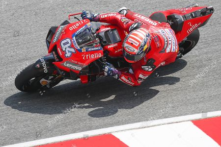 Italian MotoGP rider Andrea Dovizioso of Ducati Team in action during the free practice of the Motorcycling Grand Prix of Malaysia 2019 in Sepang International Circuit, outside Kuala Lumpur, Malaysia, 02 November 2019. The 2019 Malaysia Motorcycling Grand Prix will take place on 03 November.