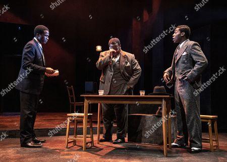 Sope Dirisu (Biff), Wendell Pierce (Willy Loman) and Natey Jones (Happy).