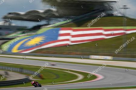 Italy's rider Danilo Petrucci of the Ducati Team steers his bike during third practice at Sepang International Circuit ahead of the MotoGP Malaysian Grand Prix in Sepang