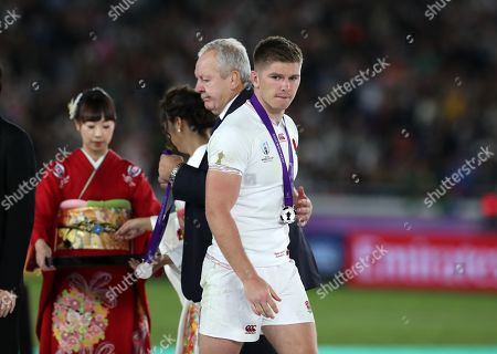 Owen Farrell - England captain after receiving his runners up medal from Sir Bill Beaumont - World Rugby Chairman.