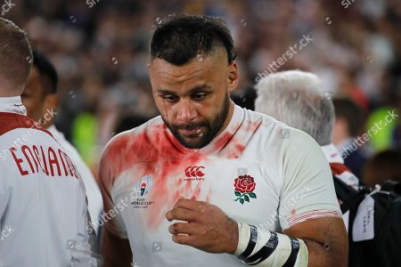 England's Billy Vunipola reacts after the Rugby World Cup final at International Yokohama Stadium between England and South Africa in Yokohama, Japan, . South Africa won 32-12